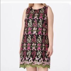 Tahari Dress Pink Floral Embroidered Sleeveless